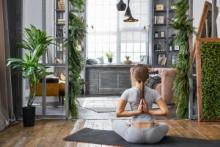 yoga, thuis, huis, persoonlijk, intiem, rust
